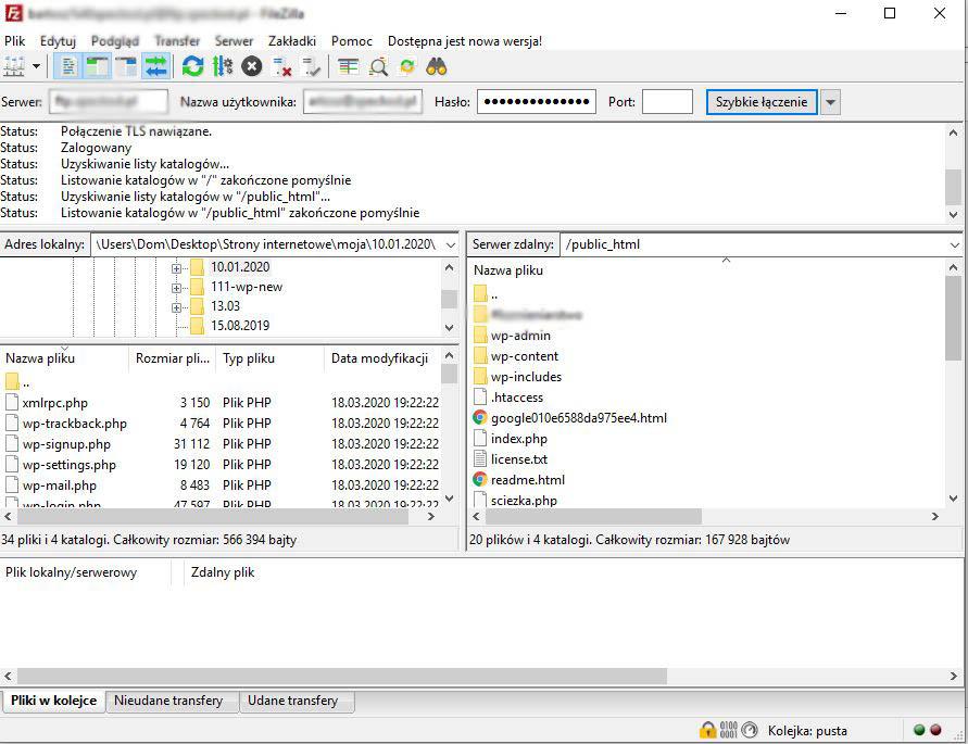 Połaczenie z serwerem FTP