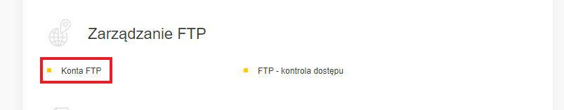 Wybór opcji FTP