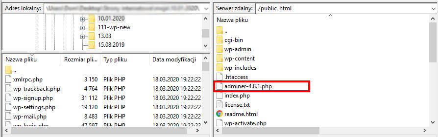 Migracja adminer.php na serwer FTP