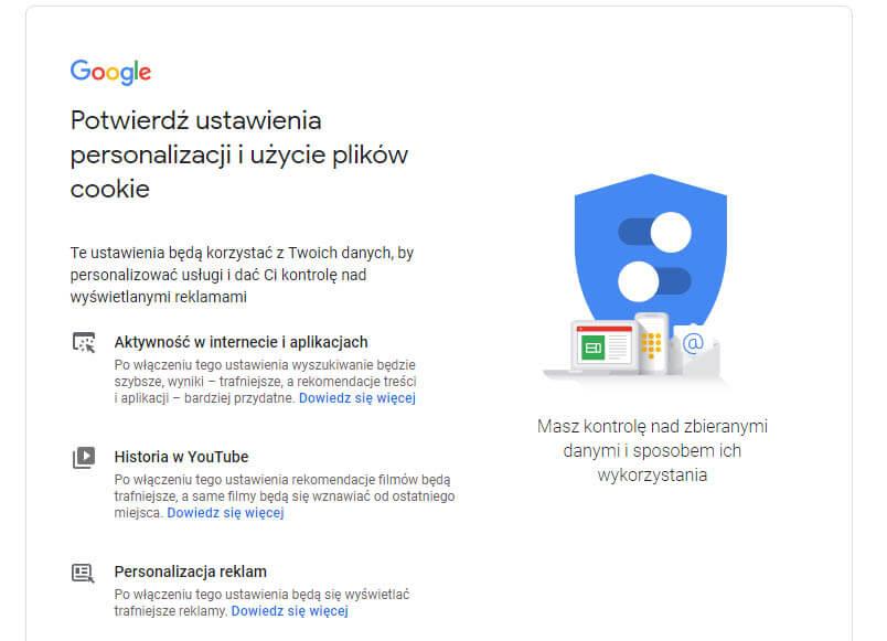 Akceptacja polityki Google