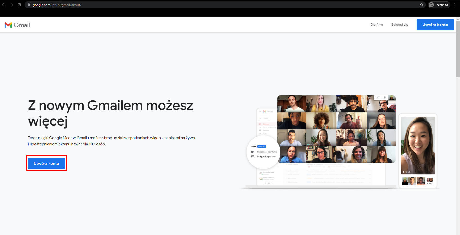 Tworzenie konta gmail